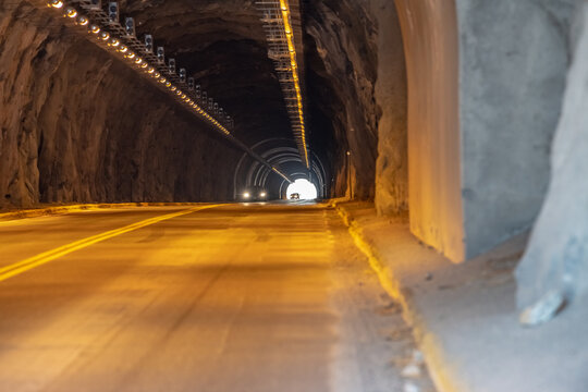 Drive through tunnel at the Buffalo Bill Dam in Wyoming.