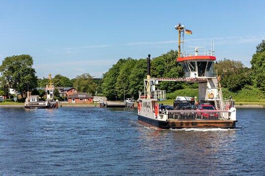 SCHACHT-AUDORF, GERMANY - JUNE 14, 2021: Kiel Canal ferry KÜSTRIN at crossing point Schacht-Audorf - Nobiskrug