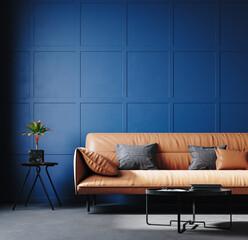 Fototapeta Dark blue home interior with leather sofa, 3d render obraz