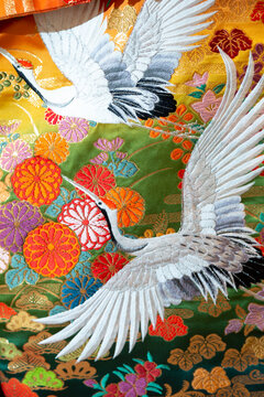 Kimono pattern. Two cranes are flying