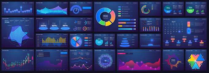 Fototapeta Dashboard infographic template with flat design charts, diagrams, bars steps, infographics, options, parts processes. UI, UX, collection. Interface screen with infographic digital illustration obraz