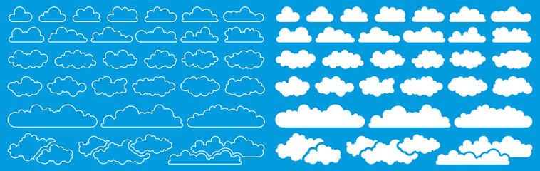 Fototapeta White clouds icon set collection on blue background vector illustration obraz