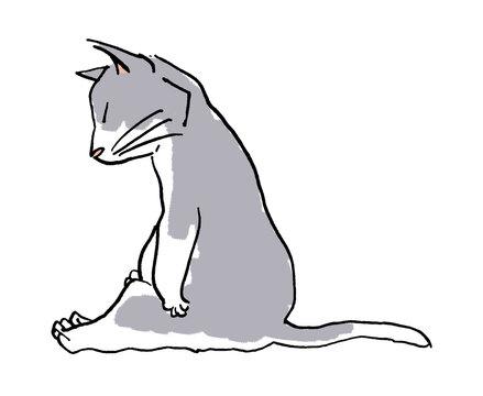 ネコ ペン画 シンプル