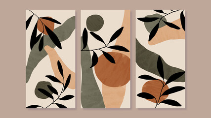Fototapeta Mid century modern triptych wall art vector. Abstract art background with floral leaves and flower line drawing  and watercolor organic shapes hand paint design for wall decor, poster and wallpaper. obraz