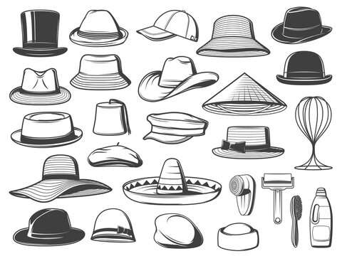 Men and women hats, caps and panamas. Vector top hat, trilby and sombrero, homburg, bucket and cowboy, asian, fez and boater, basketball, breton and flat cap, fedora, floppy and cleaning accessories
