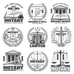 Fototapeta Notary office, lawyer and law firm icons, monochrome vector emblems. Law book, quill feather and laurel wreath, scales of justice symbol, court judge gavel and last will parchment scroll or document obraz