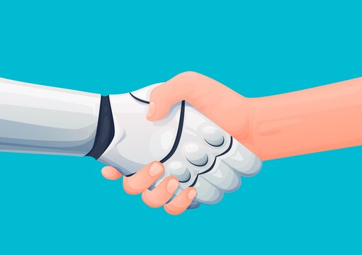 Cooperation with artificial intelligence. Human shaking hand with robot or android, man welcoming cyborg, future machine or robotic alien. Cartoon vector robot and man partnership handshake
