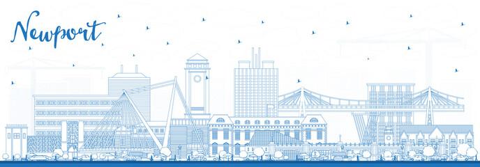 Fototapeta Outline Newport Wales City Skyline with Blue Buildings. obraz