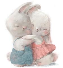Obraz cute cartoon hares couple in wedding costumes - fototapety do salonu