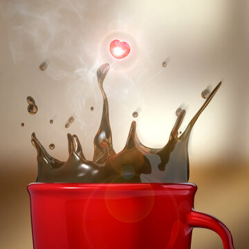 3D Rendering of Hot Coffee Spills out of a Red Cup in a Coffeshop