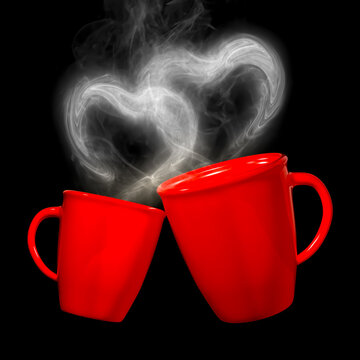 3D Rendering of Isolated Lovely Coffee Cups With Heart Shape Smokes on Black