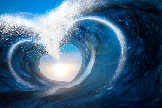 3D Rendering of Two Seismic Sea waves form to a heart Shape