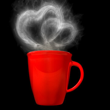 3D Rendering of an Isolated Lovely Coffee Cup With Heart Shape Smokes on Black