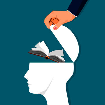 The human brain opens with a book. Learning concepts. vector illustration