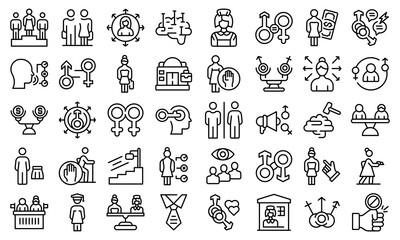 Obraz Stereotype icons set outline vector. Senior descrimination. Age life - fototapety do salonu