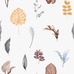 Fototapeta Tropical leaves background design vector obraz