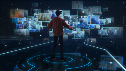 Fototapeta Internet Interface Concept: Person with Virtual Reality Headset Enters Cyberspace Internet Interface and Browses Through Web Content, Watches Video Streaming, Social Media obraz