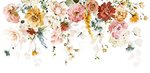 Akwarela z kwiatami retro