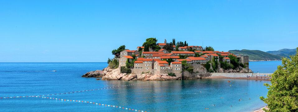 Picturesque panorama of Sveti Stefan resort-island, Montenegro, Adriatic sea, Europe