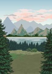 Obraz Beautiful nature landscape colorful poster - fototapety do salonu