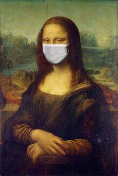 Mona Lisa Painting by Leonardo da Vinci With Corona Mask.