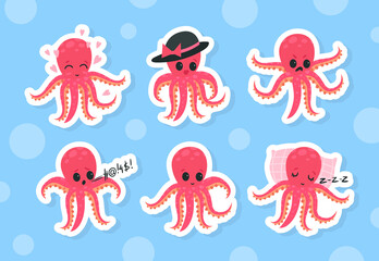 Obraz Cute Funny Pink Octopus with Tentacles Sleeping on Pillow and with Angry Face Vector Sticker Set - fototapety do salonu