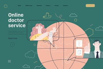 Obraz Medical insurance template - online doctor service. Modern flat vector - fototapety do salonu