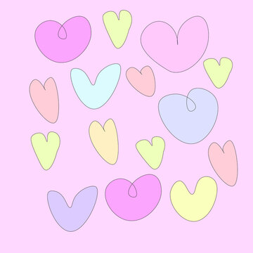 seamless pattern with hearts,pastel color on background