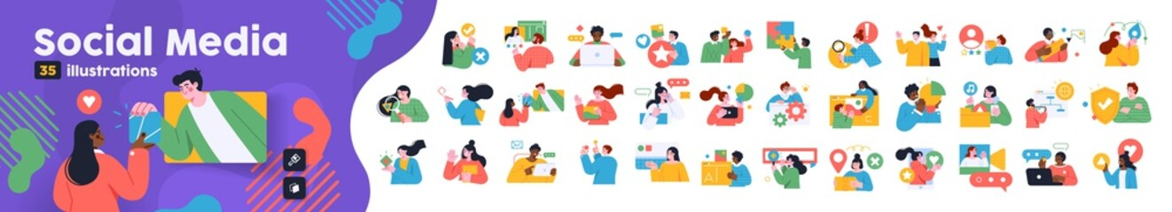Obraz Social Media Marketing illustrations. Mega set. Collection of scenes with men and women taking part in business activities. Trendy vector style - fototapety do salonu