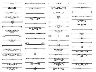 Obraz 60 Set of decorative divider elements. Border florish collection. Vector. - fototapety do salonu