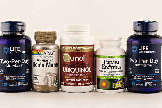 dietary supplements in the jars. dietary supplements editorial photo
