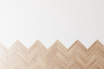 Top down view of wooden parquet flooring transitioning into white background. 3D illustration.