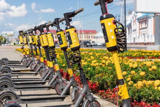 Tomsk, Russia - July 20, 2021 - Electric scooter rental in the city of Tomsk amid flowers. Ecological transport, anti-traffic jams, transport infrastructure