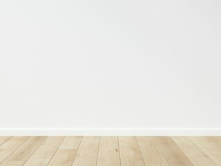 Obraz Empty room interior. View of wooden parquet flooring and white flat wall. Template for presentation of your product. 3D illustration. - fototapety do salonu