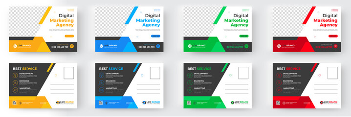 Corporate business postcard template design set with blue, yellow, red and green color. digital marketing agency postcard, business marketing postcard set, vector illustration.