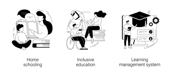 Private schooling curriculum abstract concept vector illustrations.