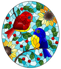 Obraz An illustration in the style of a stained glass window with a pair of abstract birds sitting on tree branches and flowers against a blue sky background - fototapety do salonu