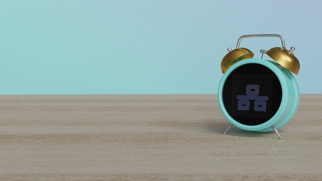 3d rendering of color alarm clock with symbol of network wired on display on table