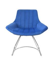 Fototapeta Front view of blue velvet armchair obraz