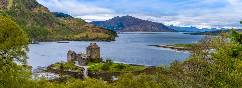 A panorama view above Loch Duich and Loch Alsh, Scotland on a summers day
