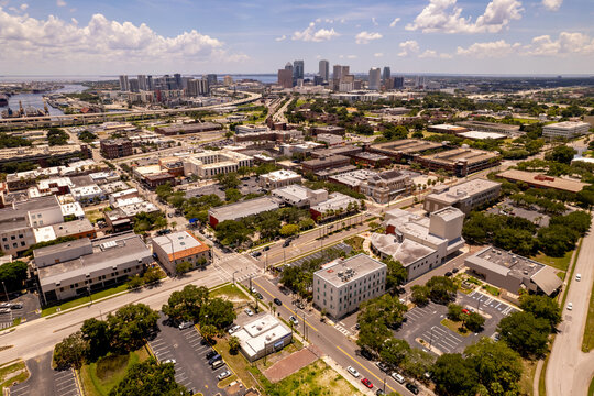 Ybor City and aerial view of Downtown Tampa FL