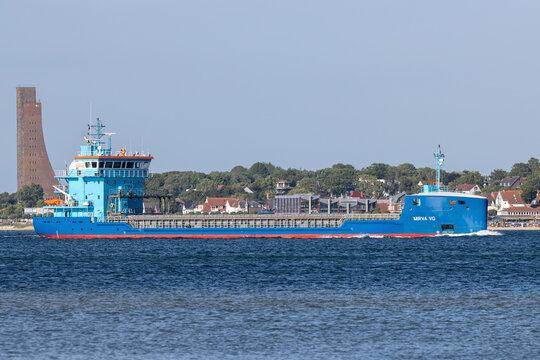 KIEL, GERMANY - JUNE 13, 2021: general cargo vessel MIRVA VG in the Kiel Fjord