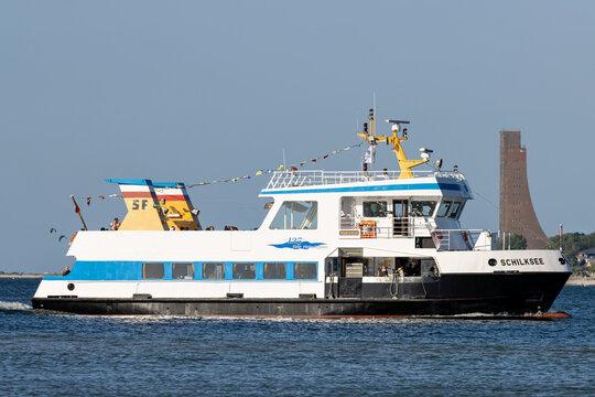 KIEL, GERMANY - JUNE 13, 2021: SFK passenger ship SCHILKSEE in the Kiel Fjord