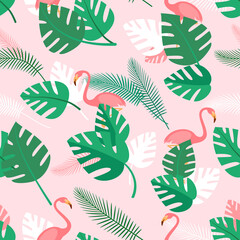 Seamless pattern with tropical plants and pink flamingos. Summer background with green palm leaves. Simple wallpaper, vector