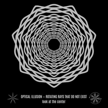 Optical Lines or Rays Illusion. Round Isolated Gray Pattern on a Black Background