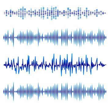 Abstract Music Waves Set. Blue Audio Soundtrack, Musical Vibrations. Radio Wave Icons. Music Frequency on White Background