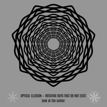 Optical Lines or Rays Illusion. Round Isolated Black Pattern on a Gray Background
