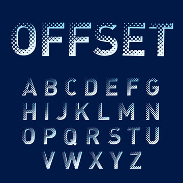 Offset Display Alphabet Letters Set with Dots and Blue Halftone. Isolated English Alphabet Font Collection on Dark-Blue Background for Title or Headline Design