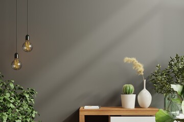 Fototapeta Mockup wall with green plant,Black wall and shelf. obraz