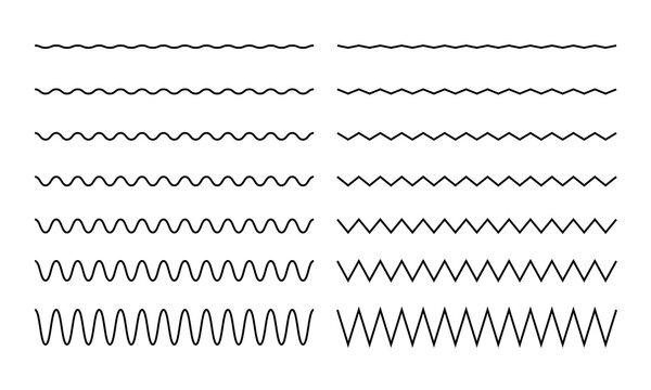 Wave, zigzag, wiggle line stroke for divider, border design. Curve brush stroke. Vector illustration.